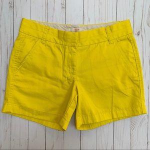 """J Crew Broken In Cotton 5"""" Chino Shorts Yellow"""